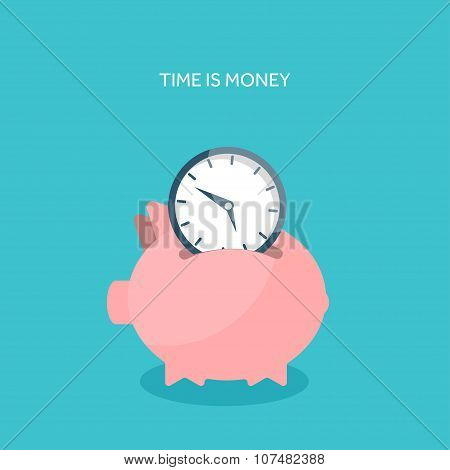 Vector illustration. Flat saving money concept background. Piggy bank and coins.