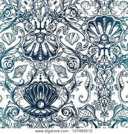 Seamless pattern with marine vintage elements.