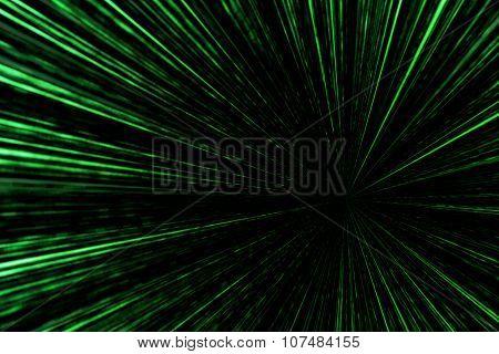 Digital Green Star Burst Matrix Generated In Black Background, Technology Concept