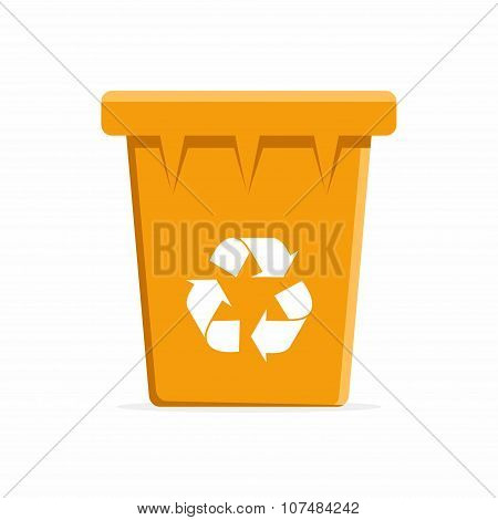 Vector Orange Recycle Bin for Trash and Garbage