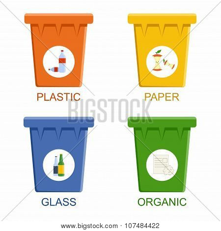 Separation recycling bins. Waste segregation management concept.