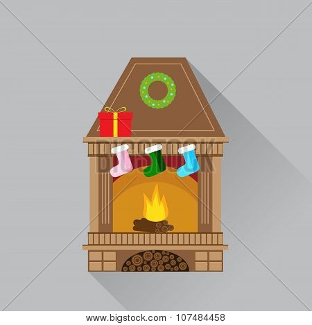 Christmas fireplace flat icon