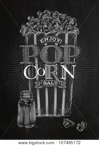 Poster Popcorn Salt Chalk