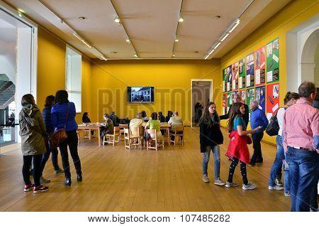 Amsterdam, Netherlands - May 6, 2015: People Visit Stedelijk Museum In Amsterdam