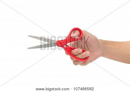Hand Is Holding Scissors Isolated On A White Background