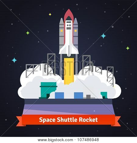 Space shuttle rocket launch from spaceport