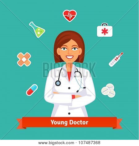 Young cardiologist doctor. Set of medicine icons