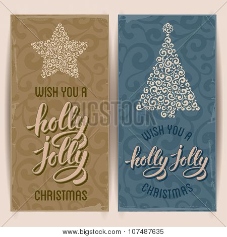 Set of vintage card with Christmas decorations and calligraphic inscription Wish you a holly jolly Merry Christmas. Vector illustration