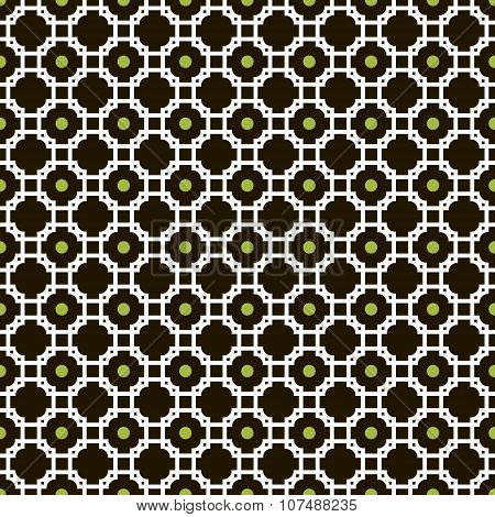 Elegant Seamless Pattern Of Crossed Graceful Carved Frames And Circles