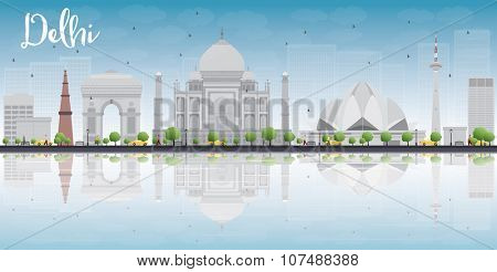 Delhi skyline with grey landmarks, blue sky and reflections. Business travel and tourism concept with historic buildings. Image for presentation, banner, placard and web site.