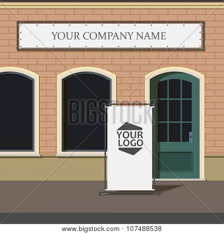 Mock up. Blank advertising pillar on the street near a shop or a cafe. Shop sign.