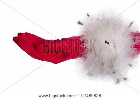 Female hand in red glove, winter Christmas gloves with fur