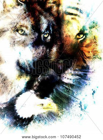 painting of eagle and tiger with wolf, abstract background, color with spot structures