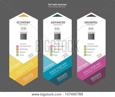 Set tariffs. interface for the site. ui ux vector banner for web app. Pastel pricing table, banner, order, box, button, list and bullet with plan for website in flat design