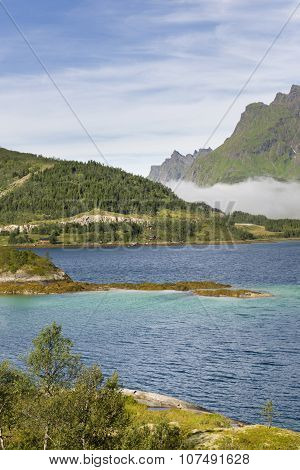 Scenic Fjord On Lofoten Islands
