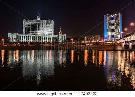 House Government Of The Russian Federation At Night.