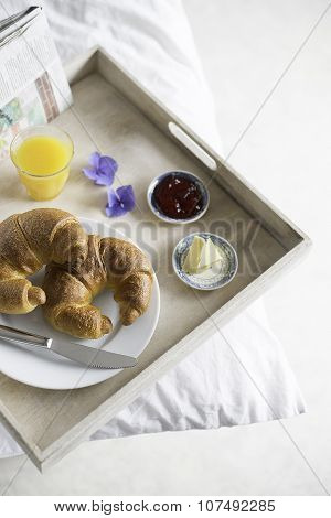 Breakfast In Bed. Tray, croissants.