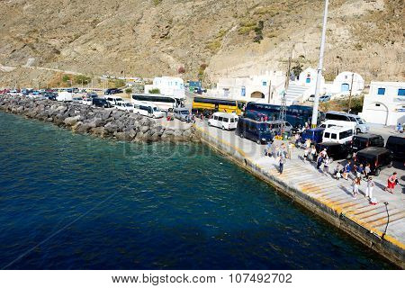 Santorini, Greece - May 19: The Pier And Speed Ferry Going To Crete Island On May 19, 2014 In Santor