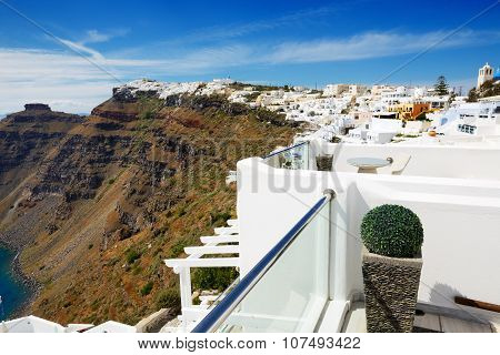 The Sea View Terrace At Luxury Hotel, Santorini Island, Greece