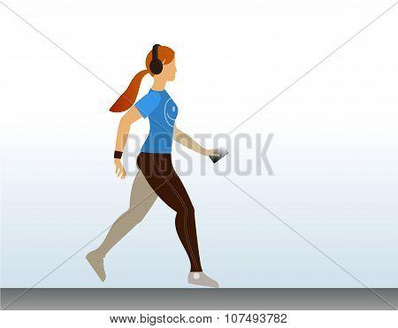 Cute sport girl running. Morning jogging