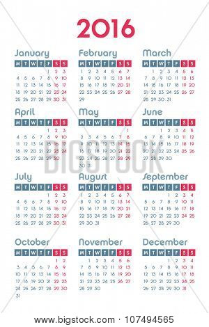 Calendar for 2016 on white background, week starts Monday, vector