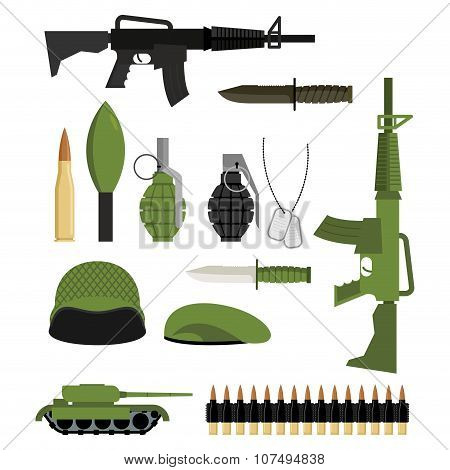 Set Of Icons For Weapons Of War. Military Units: Tank And Grenade. Soldiers Helmet And Green Beret.