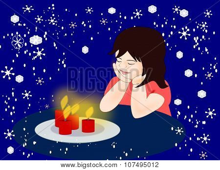 Girl with Candles