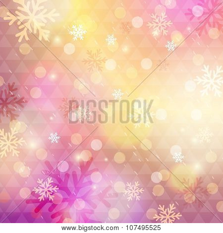 Bright Pink Background With Bokeh And Snowflakes, Vector