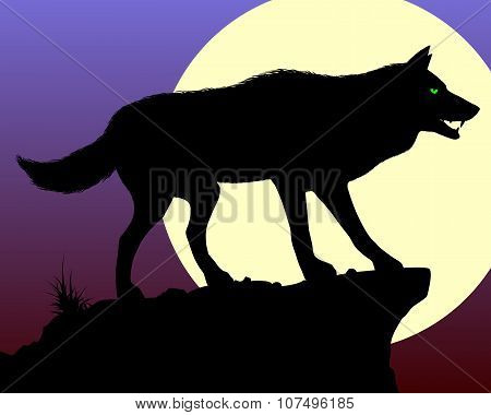 Black Wolf. Vector illustration.