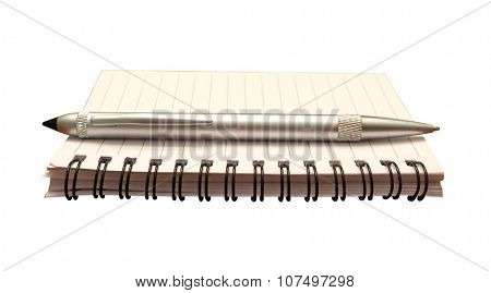 Notepad and pen isolated for writing a note, journal or making a list