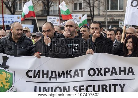 Protest Of Employees In Bulgaria Security Sector