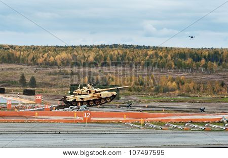 Modernized Main Battle Tank T-90S On Obstacle Springboard