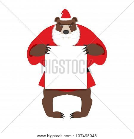 Santa Bear Keep Clean Banner With Space For Text. Wild Animal With Beard And Moustache. Woodland Bea