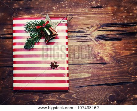 Christmas Presents With Red Paper On Dark Wooden Background In Vintage Style - Christmas Background