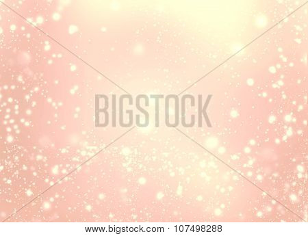 Abstract Golden Glittering Lights And Stars - Festive Glitter Vintage Background Twinkled With Light