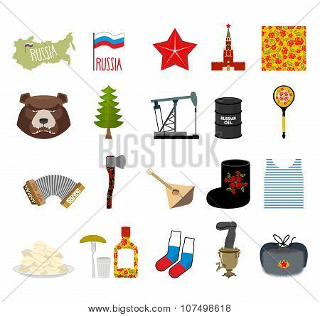Russia Set Icons. Traditional Objects Of  Country. Russian National Clothes. Association With  Count