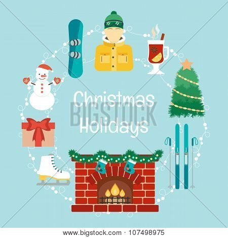 Christmas Holidays. Winter Holidays. Christmas And Winter Attributes. Icons In The Flat Design. Vect