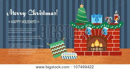 Horizontal Christmas Gift Card. Christmas Attributes. Flat Design. Vector