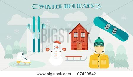 Winter Holidays. Winter Sport. Ski Resort.  Icons In The Flat Design. Horizontal Banner And Backgrou