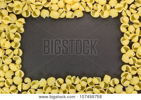 Frame from Gnocchi pasta on the dark gray background