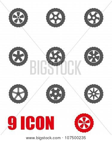 Vector Grey Wheel Icon Set