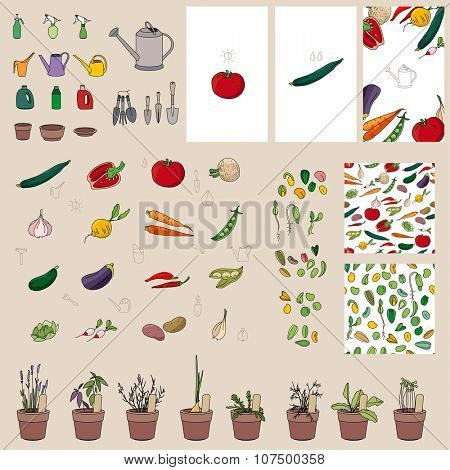 Set with vegetables, garden tools and equipment. For your design, announcements, postcards, posters.