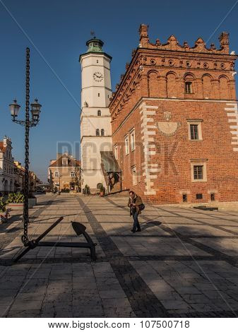 Sandomierz, Poland - October 16, 2015: Anchor And Chain Disappearing Into The Sky. Central Square. S