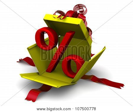 Red percent sign breaks gift box