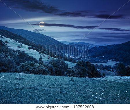 Village On Hillside Meadow At Night