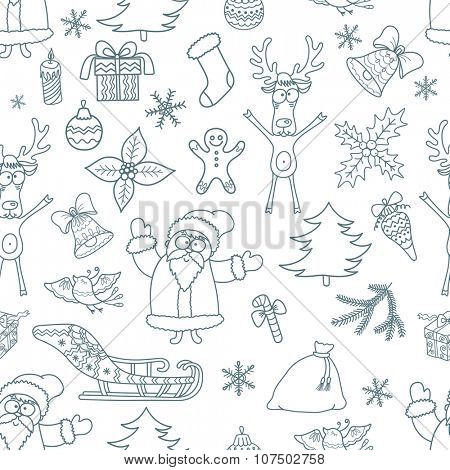 Seamless Christmas Background. Pattern with Xmas Design Elements.