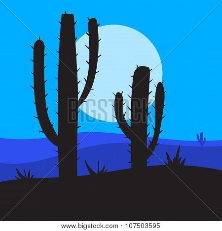 vector night landscape
