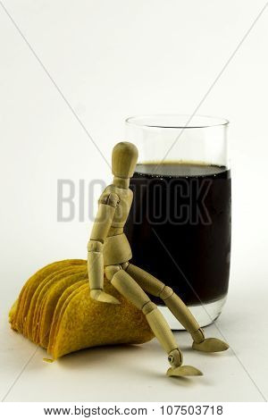 Wooden Doll With Juice And Chips