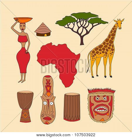 set of african symbols