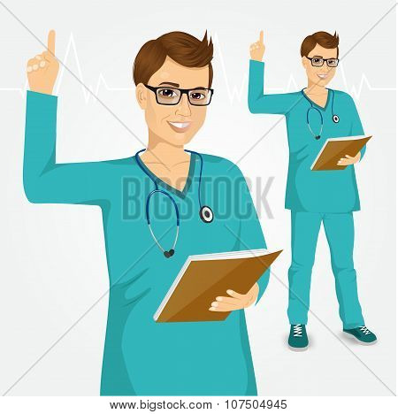nurse or doctor with glasses pointing